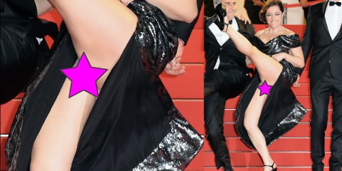 Laure Calamy No Panties Upskirt on the Red Carpet