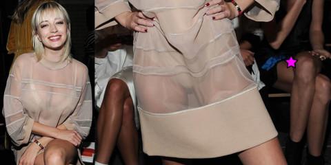 Caroline Vreeland See-thruough & Upskirt  – Candids DKNY Fashion Show NYC