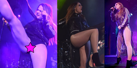 JoJo Levesque Pantyhose Upskirt Performing in Manchester