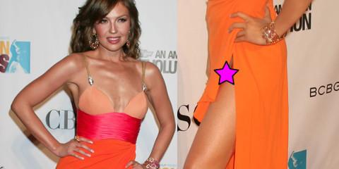 Thalia in Panty Upskirt – Long Orange Dress