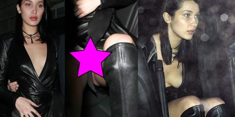 Bella Hadid White Pantie Upskirt in Leather