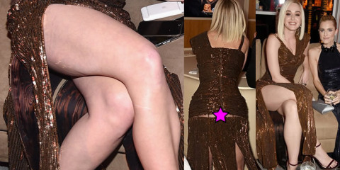 Katy Perry Upskirt, The dress is torn – caught up at the party