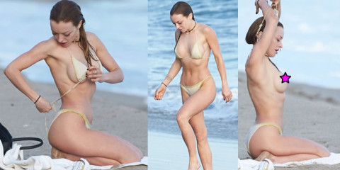 Francesca Eastwood Caught Wet & Topless on the Beach