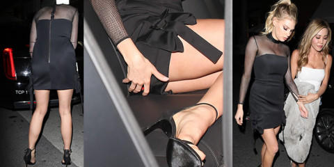 Charlotte McKinney a little upskirt – Leaving Mr Chow in Beverly Hills