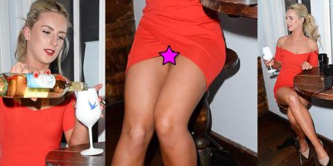 Michella McCollum Pink Pantie Upskirt Sipping Wine