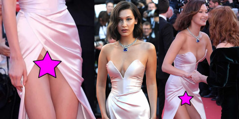 Bella Hadid Upskirt at Opening Ceremony of 70th Cannes Film Festival