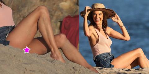 Alessandra Ambrosio Upskirt – Swimsuit Photoshoot Candids in Malibu