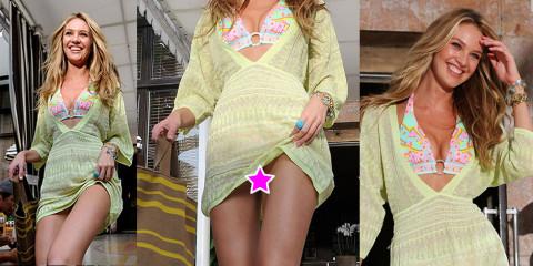 Candice Swanepoel upskirt – short dress as she leaves hotel