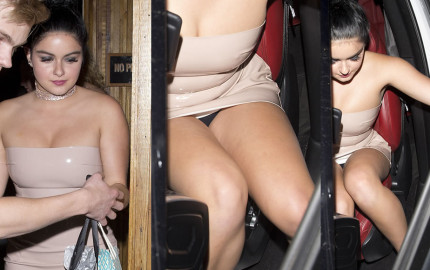 Ariel Winter upskirt - she shows off her panties while entering her car