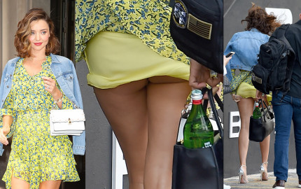 Miranda Kerr flashes her butt upskirt in New York City, 09152017