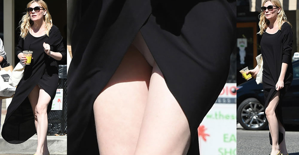 Kirsten Dunst Upskirt - Accidentaly Reveals her White Panties While Shopping