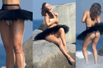 Myla Dalbesio upskirt - SI Swimsuit Topless Photoshoot Candids