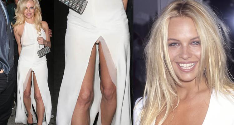 Pamela Anderson in hot upskirt