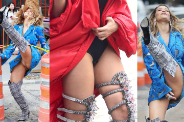 Rita Ora Pantie Upskirt on a Music Video Set in New York