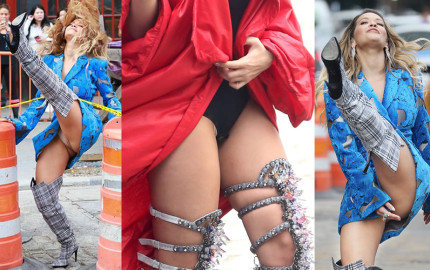 Rita Ora Pantie Upskirt on a Music Video Set in New York