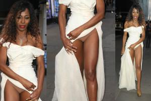 Sinitta Flashes Her Panties On London Street