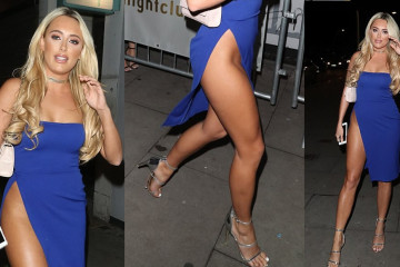 Amber Turner Upskirt - British Reality Star In A Blue Dress With Perilously High Leg Split (111217)