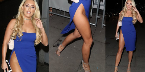 Amber Turner Upskirt – British Reality Star In A Blue Dress With Perilously High Leg Split