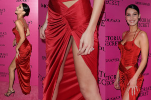 Bella Hadid Upskirt wears a sexy red gown - 2017 Victoria's Secret Fashion Show After Party in Shanghai