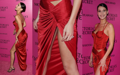 Bella Hadid Upskirt sexy red gown – Victoria's Secret Fashion Show After Party