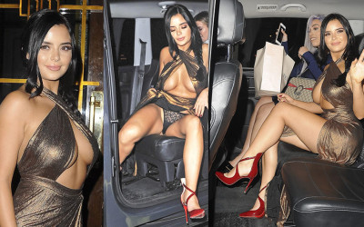 Demi Rose Mawby Upskirt Candids in London