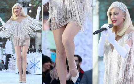 Gwen Stefani Slight Panty Upskirt - Macy's Thanksgiving Day Parade performance in New York City, 11212017