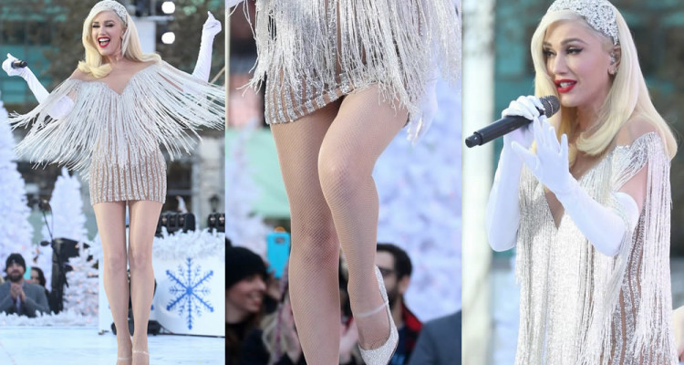 Gwen Stefani Slight Panty Upskirt - Macy's Thanksgiving Day Parade performance in New York City, 11212017