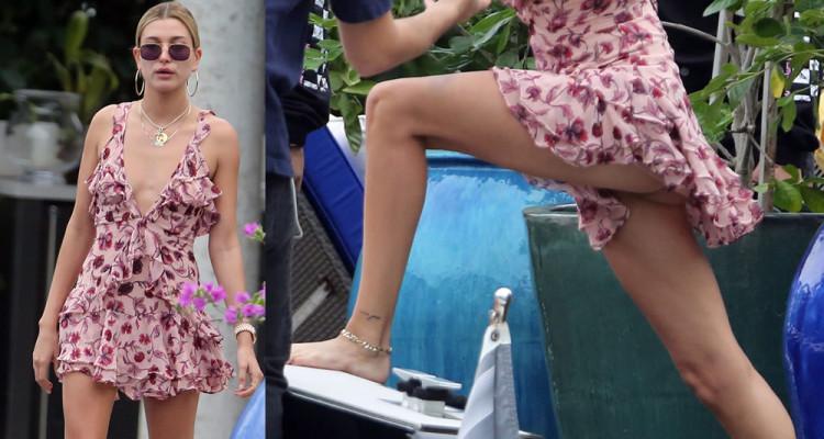 Hailey Baldwin Upskirt - On a boat in Miami