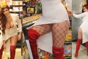 Phoebe Price Upskirt - Buys a turkey for Thanksgiving in a store in Los Angeles, 11132017