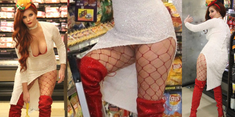 Phoebe Price Upskirt – Buys a turkey for Thanksgiving in a store in Los Angeles