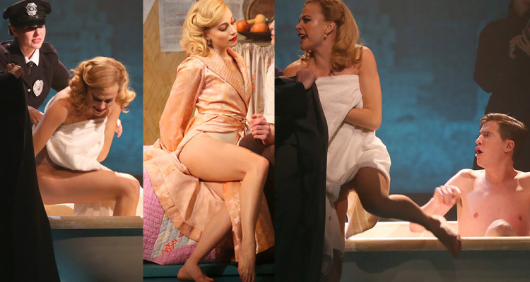 Pixie Lott  Upskirt - On Stage of Breakfast at Tiffany's Play in London  August 22