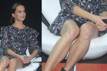 Alicia Vikander Upskirt - ''Tomb Raider'' Press Event Comic Con Experience Sao Paulo
