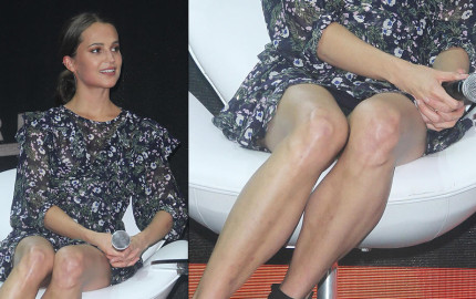 Alicia Vikander Upskirt - ''Tomb Raider'' Press Event Comic Con Experience Sao Paulo