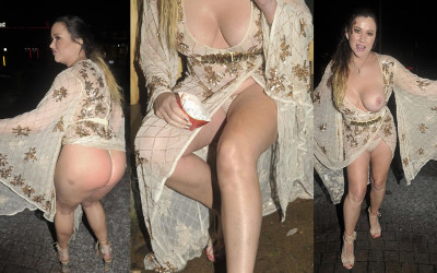 Lisa Appleton upskirt shows off her big boobs and butt in Cheshire