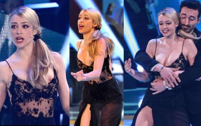 Martina Stella flashes her tits on Ballando con le Stelle (Dancing with the Stars) show