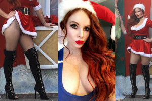 Phoebe Price Upskirt  - Santa's Workshop at The Grove in Los Angeles
