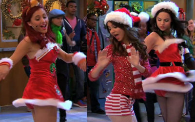 Ariana Grande & Elizabeth Gillies upskirt – Merry Christmas from the girls of Victorious!