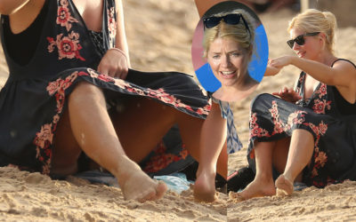 Holly Willoughby upskirt at the beach