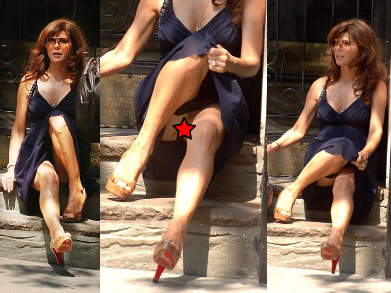 Marisa tomei exposing her nice big boobs and upskirt paparazzi pictures