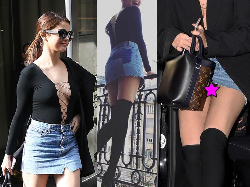 Selena Gomez Upskirt and Leggy Candids During Paris